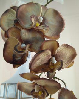 Vara orquidea artificial marrón