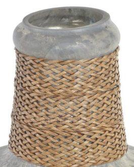 Jarrón cristal envejecido gris 21×38 cm.