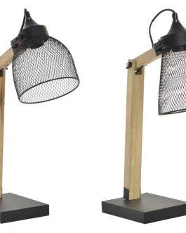 Lámpara sobremesa madera metal 30x40x50 cm.