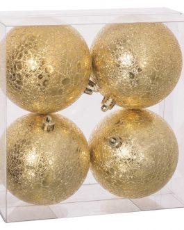 Set 4 bolas oro 8×8 cm.