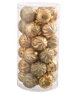 Set 30 bolas brillo-mate purpurina oro 6×6 cm.