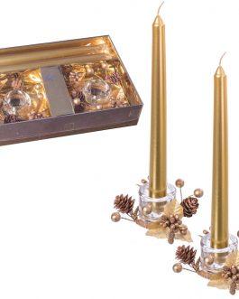 Set 2 vela candelabro+2 portavela oro