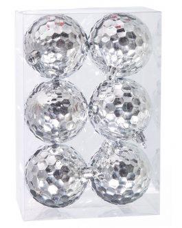 Set 6 bolas plata 6×6 cm.