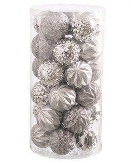Set 30 bolas brillo-mate purpurina plata 6×6 cm.