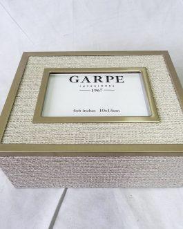 Caja portafoto metal/textil