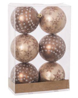 Set 6 bolas dos tonos cobre 8×8 cm.