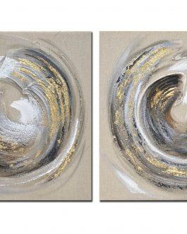Lienzo círculos tonos beig 60×60 cm.