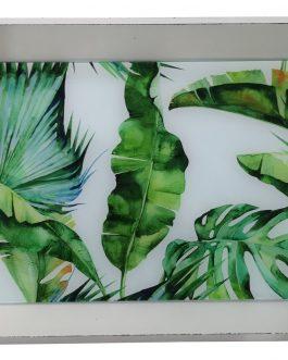 Bandeja madera hojas 43×29 cm.