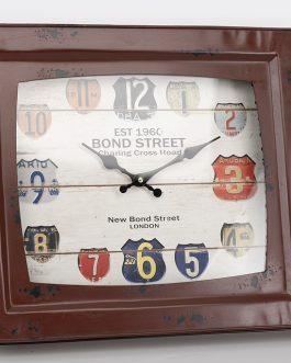 Reloj TV metal granate 35×50 cm.