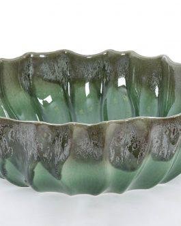 Centro cerámica verde 35x35x11 cm.