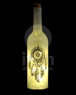 Botella led atrapasueños  7,3X7,3X30 cm.
