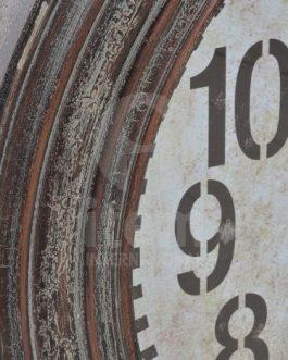 Reloj pared madera cristal 77x77x7 cm