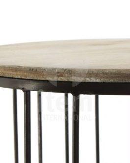 Mesa auxiliar madera hierro.