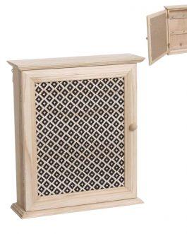 Caja llaves madera boho 20x7x25 cm