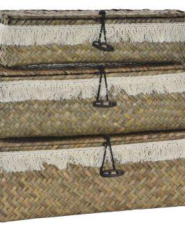 Cesta con tapa boho natural 32x12x10 cm