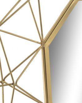 Espejo metal geométrico dorado 60x60x5 cm.