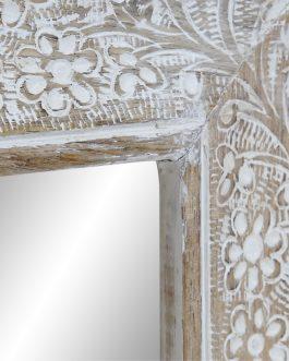 Espejo mango floral decapé natural 45x3x60 cm.