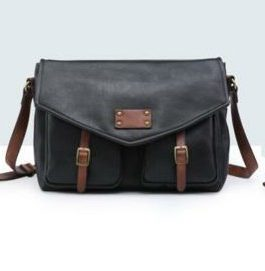 Bandolera vintage doble bolsillo negra.