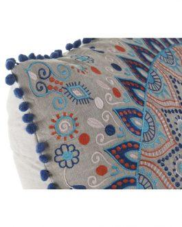 Cojín algodón azul 60×60 cm.