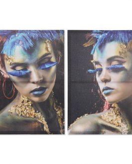 Cuadro lienzo chicas en azul 50×70 cm.