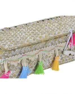 Cesta fibra con tapa y borlas colores
