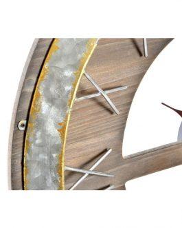 Reloj pared madera metal 60x2x60 cm.