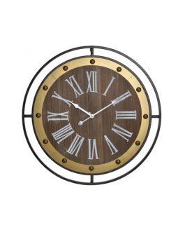 Reloj pared madera metal  60x5x60 cm.