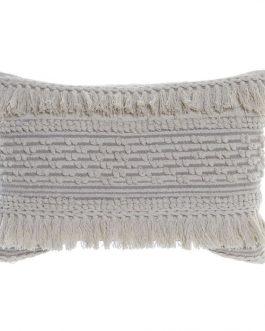 Cojín algodón beige 60×40 cm.