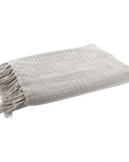 Plaid algodón flecos beige 130×170 cm.