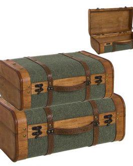 Maleta madera/tela verde.