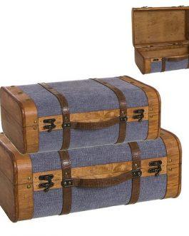 Maleta madera/tela azul.