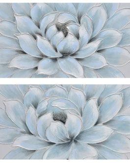 Lienzo flor azul 150x3x60 cm.