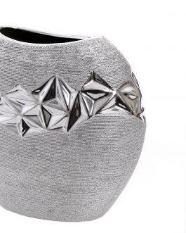 Jarrón cerámica plateado 24x11x22 cm