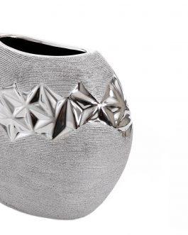 Jarrón cerámica plateado 20x10x16 cm