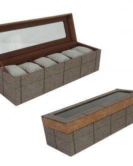 Caja seis relojes textil 32x10x10 cm