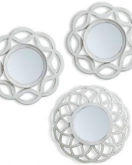 Set tres espejos blanco envejecido 25×25 cm