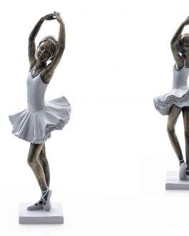 Bailarina resina vestido azul 10x9x30 cm
