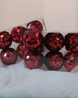 Set 6 bola escamas rojas 8 cm.