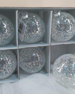 Bola trasparente estrellas plateadas 8 cm.