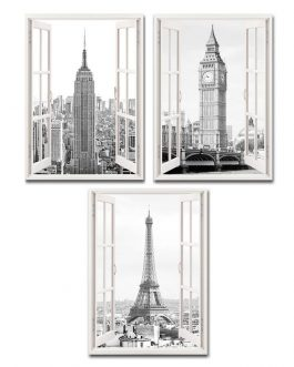 Lienzo ventana ciudades 50×70 cm
