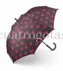 Paraguas automático puntos rojos