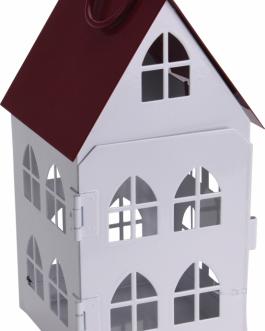 Casa candelabro metal blanco 15 cm.