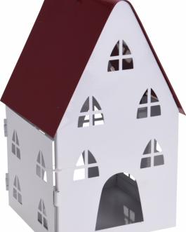 Casa candelabro metal blanco 22 cm.