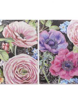 Cuadro lienzo flores 100x3x100 cm.