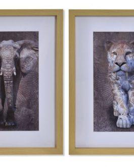 Cuadro animales salvajes 35x2x45 cm.