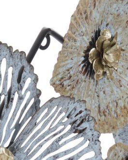 Decoración pared metal flores 119x8x80 cm.
