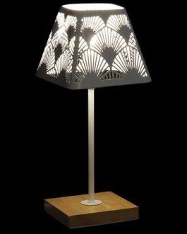 Lámpara sobremesa metal bambú 15x15x35 cm