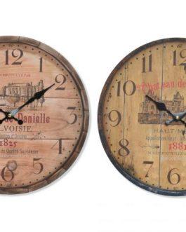 Reloj pared madera 34cm.
