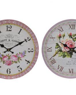 Reloj pared madera rosas 34 cm.