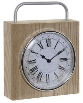 Reloj madera asa metal 19,3x5x25 cm.